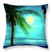 Waikiki Beach Moon #22 Throw Pillow