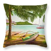 Waikiki Beach Outrigger Canoes 344 Throw Pillow