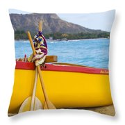 Waikiki Canoe Paddles Throw Pillow