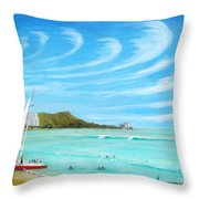 Waikiki Throw Pillow by Jerome Stumphauzer