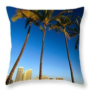 Waikiki Skyline Throw Pillow