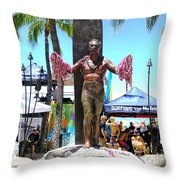 Waikiki Statue - Duke Kahanamoku Throw Pillow