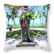 Waikiki Statue - Prince Kuhio Throw Pillow