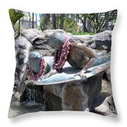 Waikiki Statue - Surfer Boy And Seal Throw Pillow