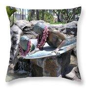 Waikiki Statue - Surfer Boy And Seal Throw Pillow