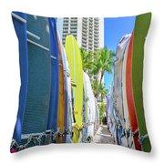 Waikiki Surfboards Throw Pillow