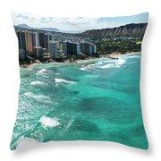 Waikiki To Diamond Head Throw Pillow
