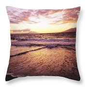 Wailea Beach At Sunset Throw Pillow