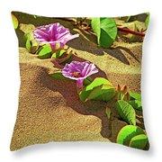 Wailea Beach Morning Glory With Honeybee Throw Pillow