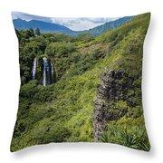 Wailua Falls And Tropical Plants Throw Pillow