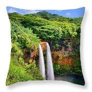 Wailua Falls Kauai Throw Pillow
