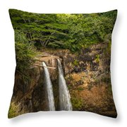 Wailua Falls Kauai I Throw Pillow
