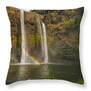Wailua Falls Rainbow Throw Pillow