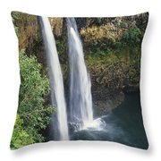 Wailua Falls Surrounded By Foliag Throw Pillow