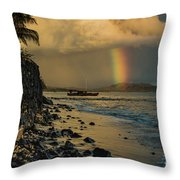 Waimanalo Rainbow Throw Pillow
