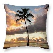 Waimea Beach Sunset - Oahu Hawaii Throw Pillow