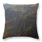 Waimea Canyon On A Misty Day In Kauai Throw Pillow