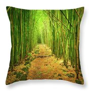 Waimoku Bamboo Forest Throw Pillow