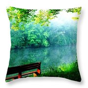 Waiting Bench Throw Pillow