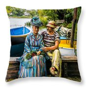 Waiting By The Boats Throw Pillow