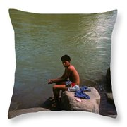 Waiting For A Fish Throw Pillow