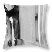 Waiting For A Ride Black And White Throw Pillow