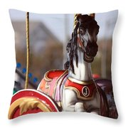 Waiting For A Rider Throw Pillow