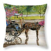 Waiting For Rider Jakarta Indonesia Throw Pillow