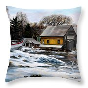 Essex Boatyard, Winter Throw Pillow
