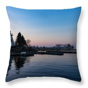 Waiting For Sunrise - Blue Hour At The Lighthouse Infused With Soft Pink Throw Pillow