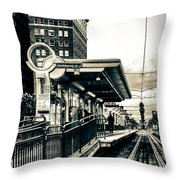 Waiting For The Blue Line Throw Pillow