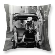 Waiting For The Customer Throw Pillow