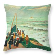 Waiting For The Return Of The Fishermen In Brittany Throw Pillow by Henry Moret