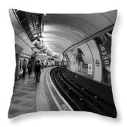 Waiting For Train Throw Pillow