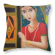Waiting Girl  Throw Pillow