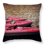 Waiting Kayaks Throw Pillow