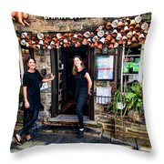 Waitresses At Outdoor French Terroir In Old Quebec City Throw Pillow