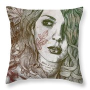 Wake - Autumn - Street Art Woman With Maple Leaves Tattoo Throw Pillow
