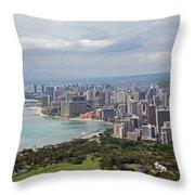 Wakiki Beach Hawaii Throw Pillow