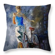 Waking Aside Her Bike 68 Throw Pillow