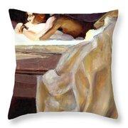 Waking Up Throw Pillow by Douglas Simonson