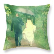 Walk In The Rain Throw Pillow