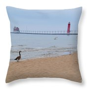 Walk On Lake Michigan Throw Pillow