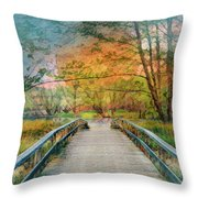 Walk To The Lake In Watercolors Throw Pillow