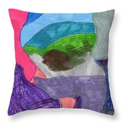 A Foggy Early Morning Walk Throw Pillow