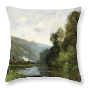 Walkers Along A River Throw Pillow