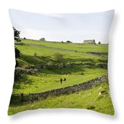 Walkers At Lathkill Dale Throw Pillow