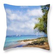 Walking Along The Beach, Holetown, Barbados Throw Pillow