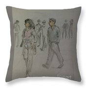 Walking Along The Strand Throw Pillow