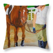 Walking Back To The Stable Throw Pillow